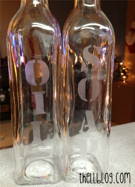 11 Etched Glass Soap and Oil Bottles